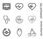 cardiology icons. set of 9... | Shutterstock .eps vector #1049635739