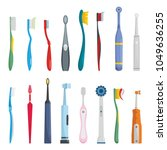 toothbrush dental icons set.... | Shutterstock .eps vector #1049636255
