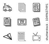 news icons. set of 9 editable... | Shutterstock .eps vector #1049637491