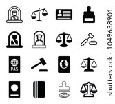 legal icons. set of 16 editable ... | Shutterstock .eps vector #1049638901
