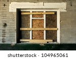 Boarded Up Old Window In A...