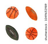 watercolor basketball and rugby ... | Shutterstock . vector #1049652989