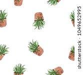 watercolor set of green pot... | Shutterstock . vector #1049652995