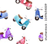 watercolor scooter seamless... | Shutterstock . vector #1049654009