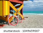 bike   lifeguard station in... | Shutterstock . vector #1049659007