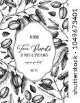 vector almond background. hand... | Shutterstock .eps vector #1049673401