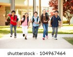 schoolchildren at home time | Shutterstock . vector #104967464