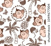 seamless vector pattern with... | Shutterstock .eps vector #1049677004