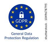 gdpr banner. general data... | Shutterstock .eps vector #1049678795