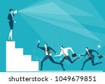 business woman on top of the... | Shutterstock .eps vector #1049679851