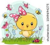 cute cartoon chicken with... | Shutterstock .eps vector #1049694275