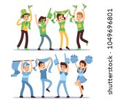 happy sports fun teams. group... | Shutterstock .eps vector #1049696801