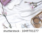 magnolia flower flat lay... | Shutterstock . vector #1049701277