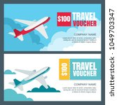 vector gift travel voucher... | Shutterstock .eps vector #1049703347