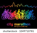 group of cyclist on the bicycle ... | Shutterstock . vector #1049710781