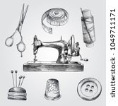 hand drawn sewing sketches set. ... | Shutterstock .eps vector #1049711171