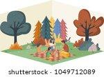 cartoon family having picnic in ... | Shutterstock .eps vector #1049712089
