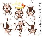 isolated funny monkeys.vector... | Shutterstock .eps vector #1049714891