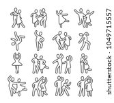 Stock vector happy dancing woman and man couple icons disco dance lifestyle vector pictograms illustration of 1049715557