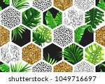 tropical palm leaves background ... | Shutterstock .eps vector #1049716697