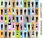 large collection of silhouettes ... | Shutterstock . vector #1049717345