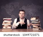 a young ambitious geography... | Shutterstock . vector #1049721071