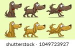 cartoon cute dog in different... | Shutterstock .eps vector #1049723927