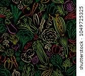 vegetable doodles seamless... | Shutterstock .eps vector #1049725325