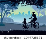 happy mother and child cycling... | Shutterstock . vector #1049725871