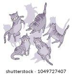 cute cat in funny cartoon style.... | Shutterstock .eps vector #1049727407