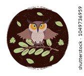 wild cartoon owl on branch... | Shutterstock .eps vector #1049736959