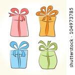 cartoon gift boxes collection | Shutterstock .eps vector #104973785