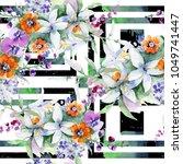 bouquet flower pattern in a...   Shutterstock . vector #1049741447