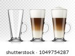 set of latte macchiato glass on ... | Shutterstock .eps vector #1049754287