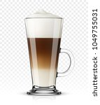 glass with latte macchiato on... | Shutterstock .eps vector #1049755031