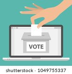 voting online concept. woman's... | Shutterstock .eps vector #1049755337