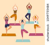 set with beautiful women in... | Shutterstock .eps vector #1049755484