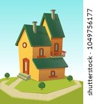 family house building with... | Shutterstock .eps vector #1049756177