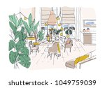 colored drawing of cozy dining... | Shutterstock .eps vector #1049759039