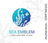 sea emblem. seaweeds and... | Shutterstock .eps vector #1049760101