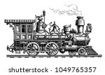 retro steam locomotive  train.... | Shutterstock .eps vector #1049765357