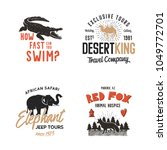 wild animal badges set and... | Shutterstock .eps vector #1049772701