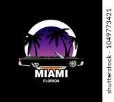 ganster car with palms beach... | Shutterstock .eps vector #1049773421