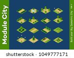 isometric 3d set park with... | Shutterstock .eps vector #1049777171