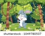 Stock vector vector illustration of cartoon rabbit 1049780537