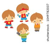 cute kid in different poses | Shutterstock .eps vector #1049782037