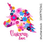 t shirt design with unicorn... | Shutterstock .eps vector #1049792561
