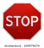 Red Realistic Stop Road Sign...