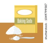 baking soda box. spoon with... | Shutterstock . vector #1049799587