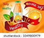 orange juice ads poster  glass... | Shutterstock .eps vector #1049800979